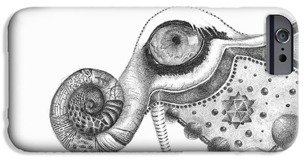 Resurrecting Drawings iPhone Cases - Abstract Drawing #2 - Tigerphant iPhone Case by J M Lister