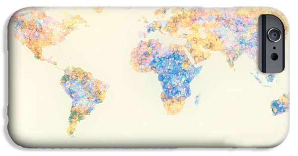 Frame Shop Digital Art iPhone Cases - Abstract Earth Map 2 iPhone Case by Bob Orsillo