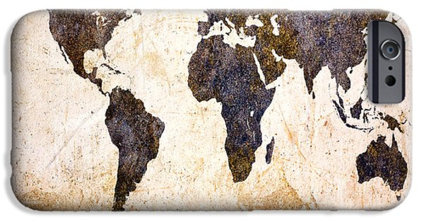 Business Digital Art iPhone Cases - Abstract Earth Map iPhone Case by Bob Orsillo