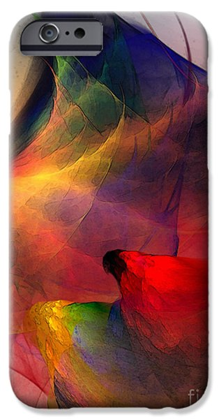 Abstract Expressionism iPhone Cases - Abstract Exotic Birds iPhone Case by Karin Kuhlmann