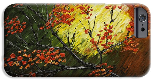 Maple Season Paintings iPhone Cases - Abstract Fall Tree Painting iPhone Case by Keith Webber Jr