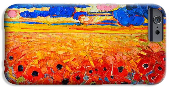 Sun Rays Paintings iPhone Cases - Abstract Field Of Poppies Under Cloudy Sunset  iPhone Case by Ana Maria Edulescu