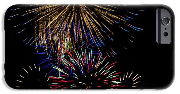 4th July Photographs iPhone Cases - Abstract Firwoprks iPhone Case by Robert Bales