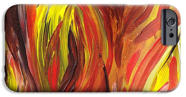 Flames Paintings iPhone Cases - Abstract Flames iPhone Case by Irina Sztukowski