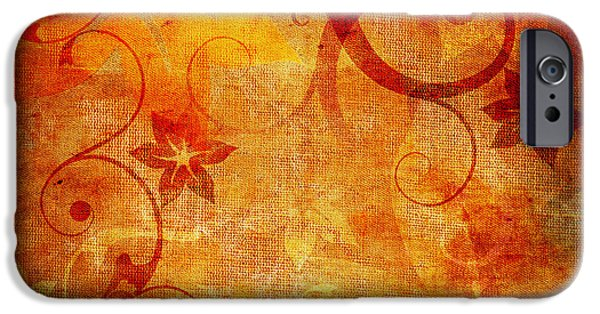 Grungy Pyrography iPhone Cases - Abstract floral background iPhone Case by Jelena Jovanovic