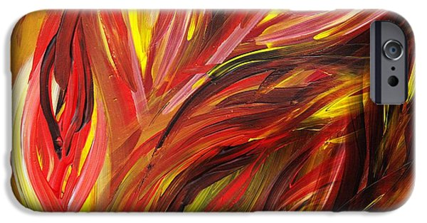 Freed Paintings iPhone Cases - Abstract Floral Flaming Leaves iPhone Case by Irina Sztukowski