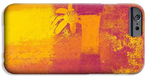 Orange Digital iPhone Cases - Abstract Floral - m31at1b iPhone Case by Variance Collections