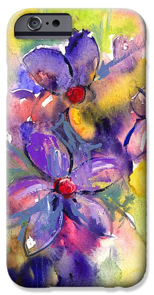 Contemporary Abstract Drawings iPhone Cases - abstract Flower botanical watercolor painting print iPhone Case by Svetlana Novikova
