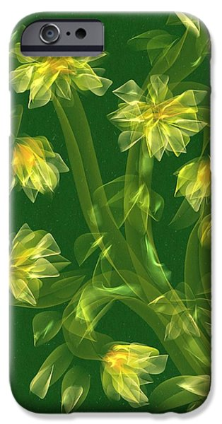 Abstract Digital Paintings iPhone Cases - Abstract flower field iPhone Case by Veronica Minozzi
