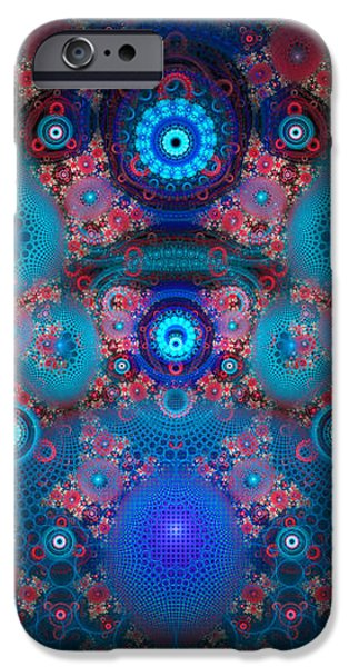 Abstract fractal art blue and red iPhone Case by Matthias Hauser