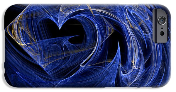 """digital Abstract"" iPhone Cases - Abstract Fractal Art - Psychedelic - Blue Spiral Pattern  iPhone Case by Keith Webber Jr"