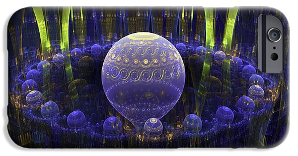 """digital Abstract"" iPhone Cases - Abstract Fractal Art - Psychedelic Spheres - Modern Digital Image - Blue Green iPhone Case by Keith Webber Jr"