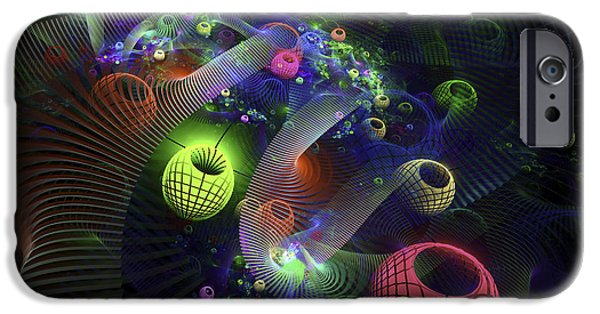 Abstractions iPhone Cases - Abstract Fractal Image Modern Art Green Spheres Blue Black  iPhone Case by Keith Webber Jr