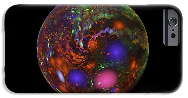 Abstractions iPhone Cases - Abstract Fractal Sphere Digital Image Black Modern Art iPhone Case by Keith Webber Jr
