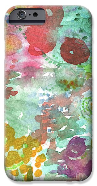 Lobby iPhone Cases - Abstract Garden iPhone Case by Linda Woods