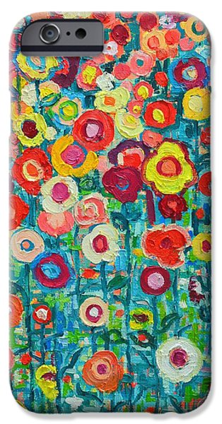 Abstract Flowers iPhone Cases - Abstract Garden Of Happiness iPhone Case by Ana Maria Edulescu