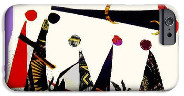 People Tapestries - Textiles iPhone Cases - Abstract Gathering iPhone Case by Ruth Yvonne Ash