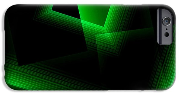 Transparency Geometric iPhone Cases - Abstract Geometry Green on Green in Digital Art iPhone Case by Mario  Perez