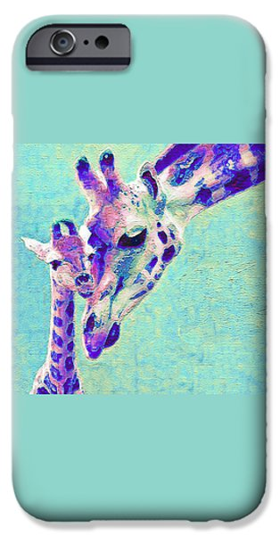 Blue Abstracts iPhone Cases - Abstract Giraffes iPhone Case by Jane Schnetlage