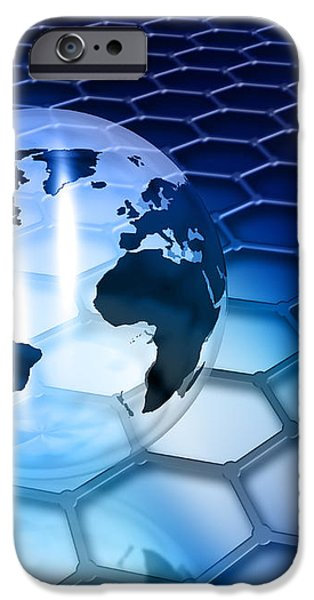 Abstract globe background iPhone Case by Kirsty Pargeter