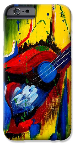 Gloss Varnish iPhone Cases - Abstract Guitar iPhone Case by Roopa Puranik