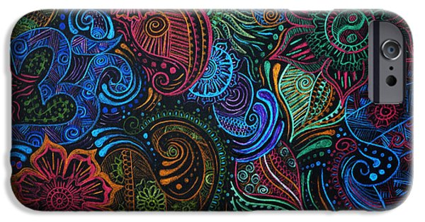 Henna iPhone Cases - Abstract Henna Design iPhone Case by Cathryn Jenner
