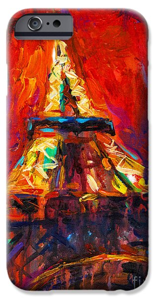Contemporary Art Drawings iPhone Cases - Abstract Impressionistic Eiffel Tower painting iPhone Case by Svetlana Novikova