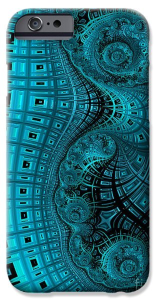 Blue Abstracts iPhone Cases - Abstract in Blue and Black iPhone Case by John Edwards