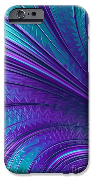 Fan iPhone Cases - Abstract in Blue and Purple iPhone Case by John Edwards