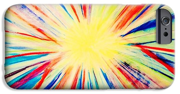 Sun Rays Pastels iPhone Cases - Abstract in Radiance iPhone Case by Renee Michelle Wenker