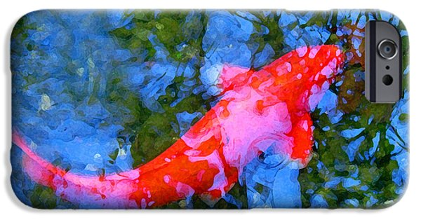 Abstract Landscape Digital Art iPhone Cases - Abstract Koi 4 iPhone Case by Amy Vangsgard