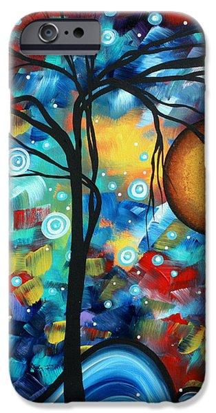 Abstract Landscap Art Original Circle of Life Painting SWEET SERENITY by MADART iPhone Case by Megan Duncanson