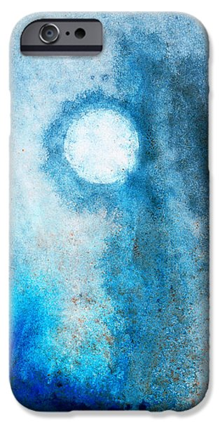 Blue-gray iPhone Cases - Abstract Landscape Art - Blue Moon - By Sharon Cummings iPhone Case by Sharon Cummings