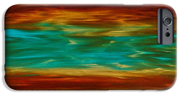 Earthy Paintings iPhone Cases - Abstract Landscape Art - Fire Over Copper Lake - By Sharon Cummings iPhone Case by Sharon Cummings