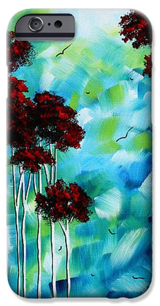 Red Abstract iPhone Cases - Abstract Landscape Art Original Tree and Moon Painting BLUE MOON by MADART iPhone Case by Megan Duncanson