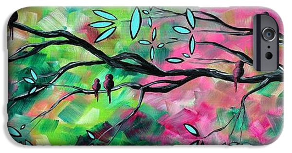 Modern Abstract iPhone Cases - Abstract Landscape Bird and Blossoms Original Painting BIRDS DELIGHT by MADART iPhone Case by Megan Duncanson