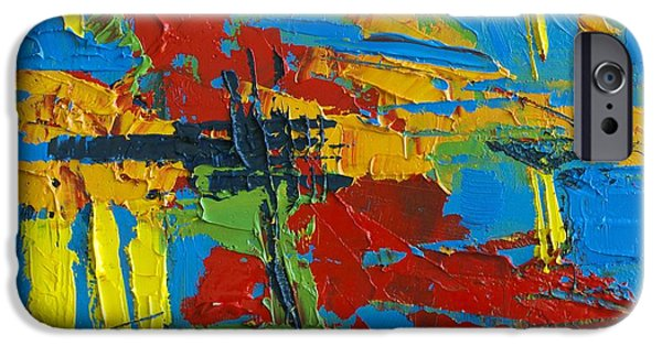 Pallet Knife Paintings iPhone Cases - Abstract Landscape No 1 iPhone Case by Patricia Awapara
