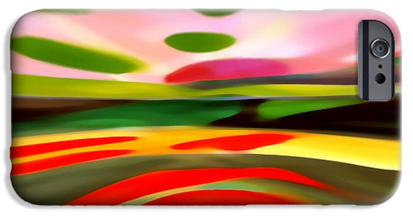 Red Abstract iPhone Cases - Abstract Landscape of Happiness iPhone Case by Amy Vangsgard