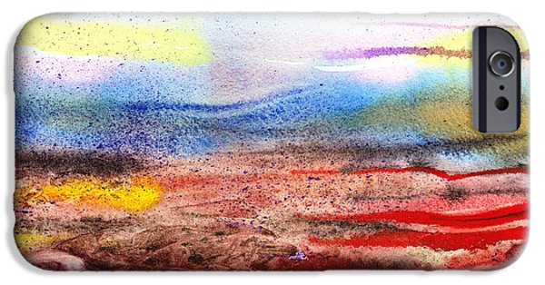 Abstractions iPhone Cases - Abstract Landscape Purple Sunrise Early Morning iPhone Case by Irina Sztukowski