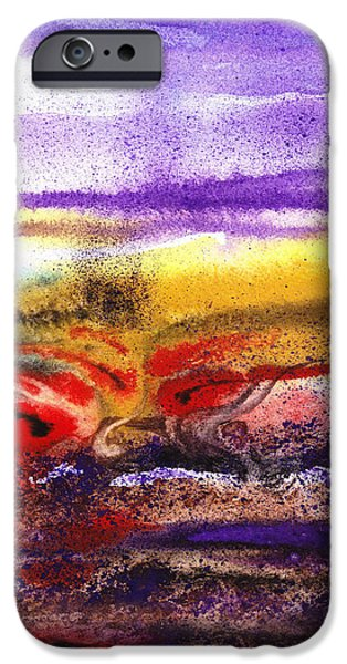 Business Paintings iPhone Cases - Abstract Landscape Purple Sunrise Earthy Swirl iPhone Case by Irina Sztukowski