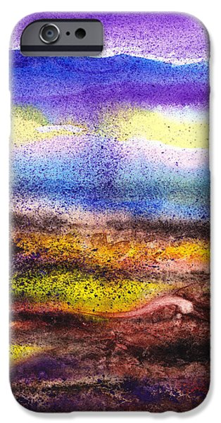 Abstractions iPhone Cases - Abstract Landscape Purple Sunrise Yellow Fog iPhone Case by Irina Sztukowski