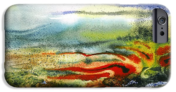 Abstractions iPhone Cases - Abstract Landscape Red River iPhone Case by Irina Sztukowski