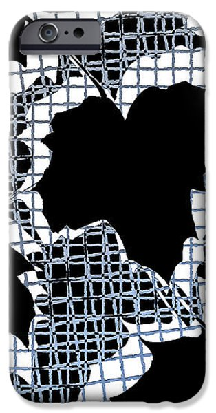 Abstract Leaf Pattern - Black White Light Blue iPhone Case by Natalie Kinnear