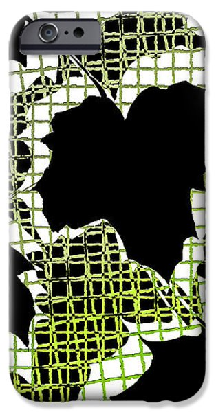 Abstract Leaf Pattern - Black White Lime Green iPhone Case by Natalie Kinnear