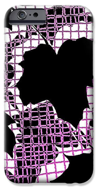 Abstract Leaf Pattern - Black White Pink iPhone Case by Natalie Kinnear