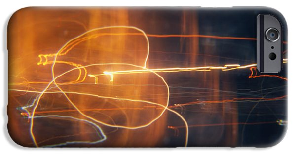 Circle Digital iPhone Cases - Abstract light streaks iPhone Case by Pixel Chimp