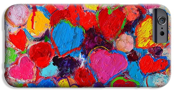Shape iPhone Cases - Abstract Love Bouquet Of Colorful Hearts And Flowers iPhone Case by Ana Maria Edulescu