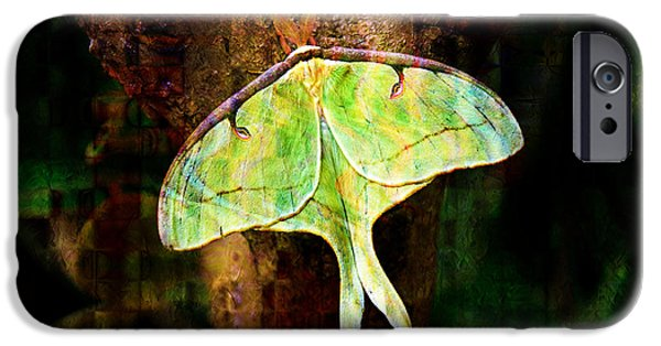 Invertebrates Mixed Media iPhone Cases - Abstract Luna Moth Painterly iPhone Case by Andee Design