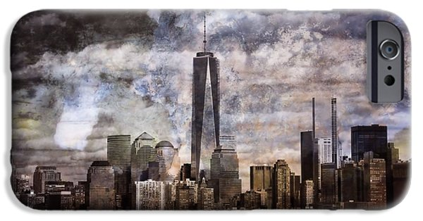 Skylines Mixed Media iPhone Cases - Abstract Manhattan Skyline iPhone Case by Dan Sproul