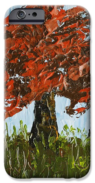 Lone Tree iPhone Cases - Abstract Maple Tree Palette Knife Painting iPhone Case by Keith Webber Jr